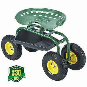Green Rolling Garden Cart Work Seat wHeavy Duty Tool Tray