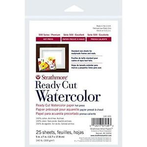 Strathmore 140305 140-Pound 25-Sheet Hot Pressed Watercolor Paper, 5 by 7-Inch,
