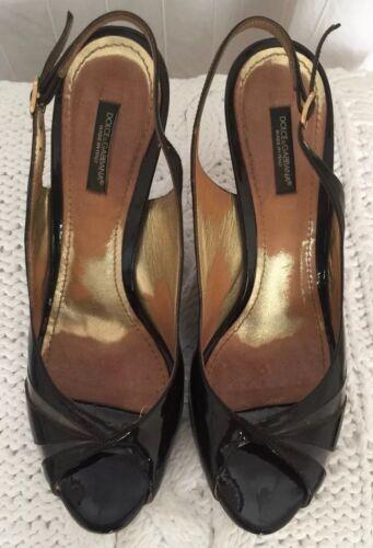 Sandales 5 à pour femmes ouvert marron Talons bout bride à cuir Dolce en verni Gabbana 40 5UZwHxH