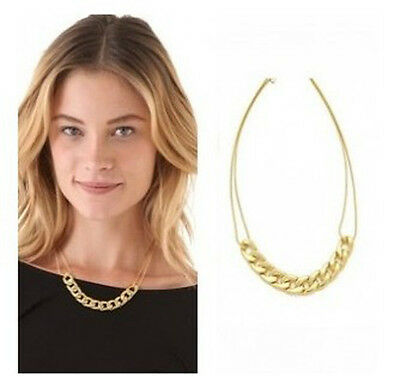 Hot Sell Fashion Golden Double Thin Chain Thick Interlocking Pendant Necklace
