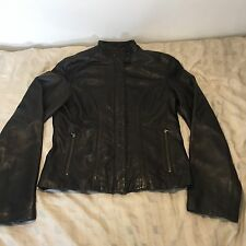 Cole Haan Lambskin Leather Jacket - Espresso - XS