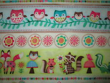 FOX FOXES OWLS MUSHROOMS SQURRELS FLOWERS COTTON FABRIC FQ