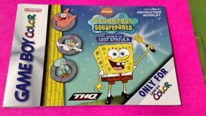 Spongebob-Lost-Spatula-Nintendo-Game-Boy-Color-Instruction-MANUAL-ONLY-No-Game