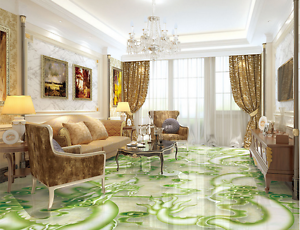 3D Green Dragon 412 Floor WallPaper Murals Wall Print 5D AJ WALLPAPER AU Lemon