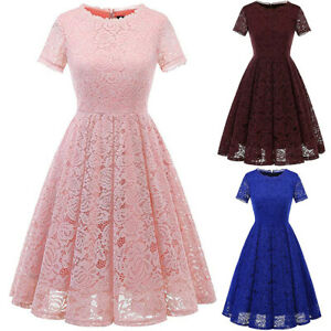 Women-Vintage-Floral-Lace-A-line-Swing-Dress-Wedding-Cocktail-Evening-Party-Gown