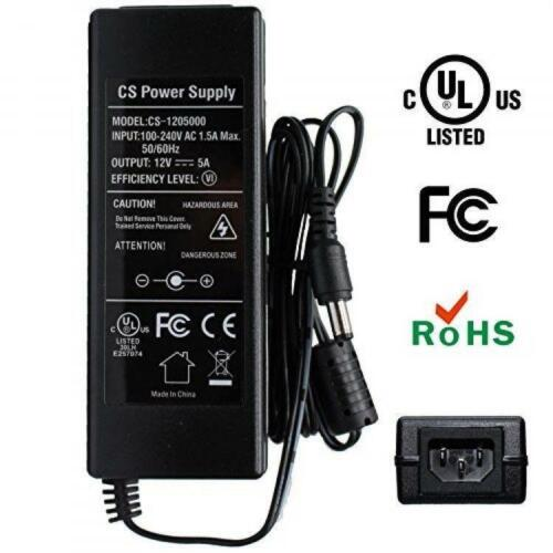 ANVISION AC to DC 12V 5A 60W Power Supply Adapter Plug 3pins 5.5x2.1mm for Led