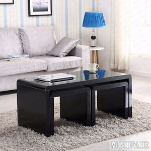 high end coffee tables living room high gloss black coffee table side end nested tables set 25817