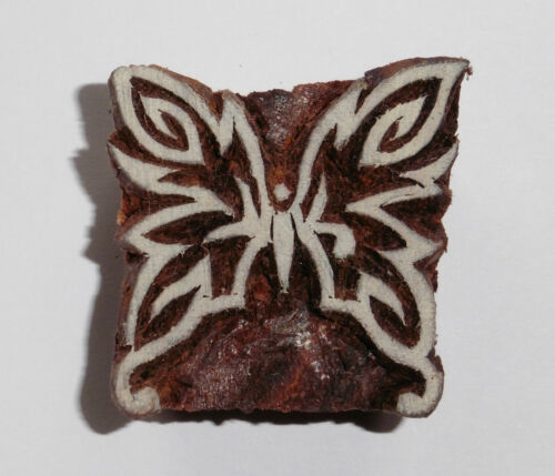 Butterfly Stamp 3.9cm x 3.8cm Indian Hand Carved Wooden Printing Block