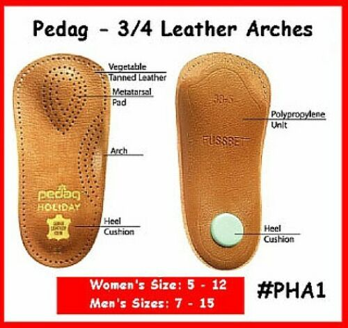 Men/'s #42 Pedaq Arch Shoe Insole 3//4 Arches Leather TOP