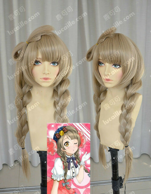 Love Live!/South Birds Flaxen Bowknot + Braids Long Straight Styling Wig Hair
