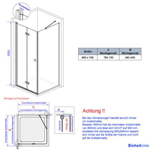 Duschkabine 90x75 90x70 80x80 Duschabtrennung Falttür Duschwand mit Seitenwand