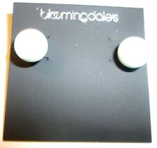 BLOOMINGDALES Earrings pierced stud silver tone W/ BIG WHITE FAUX PEARL  NWT