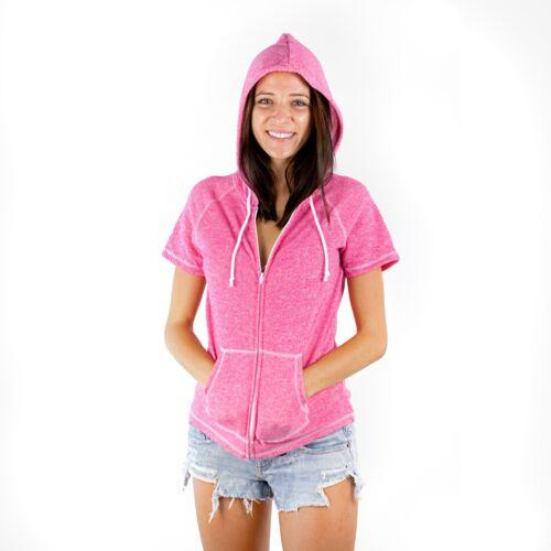 Short Sleeve Zipper Hoodie PimaTee Juniors French Terry Hoodie