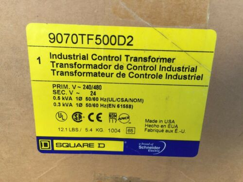 New Square D 9070TF500D2 Control Transformer 500VA 240//480V-24V