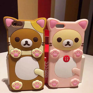 premium selection d0dbd e5256 Details about Cute Teddy Rilakkuma Bear Silicone Soft Case Cover For  Samsung S7 S6 Edge Note 5