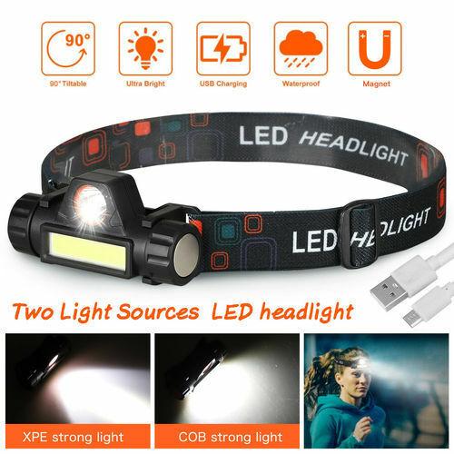 USB Rechargeable COB LED Headlamp Headlight Flashlight Head Lamp Torch Waterproo