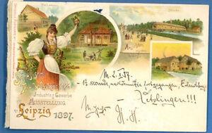 GERMANY LEIPZIG 1897s VINTAGE LITHO PC NICE USED