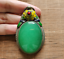 thumbnail 3 - China handwork tibet-silver inlay old green jade Cloisonne yellow Flower Pendant