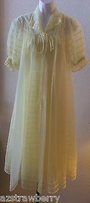 Vtg Yellow Bridal Shadowline Nylon Chiffon Peignoir Lingerie Nightgown Robe Set