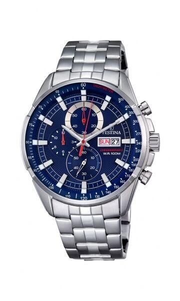 Festina Herrenuhr Uhr Chrono Chronograph Tag Datum Edelstahl Blau F6844/3