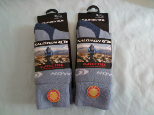 2 PAIR SALOMON ACTIVITY 40/% MERINO WOOL BLUE HIKING WALKING SOCKS Small /& medium