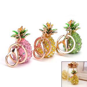 Pineapple-Crystal-Rhinestone-Keyring-Charm-Pendant-Bag-Key-Ring-Chain-Keychain