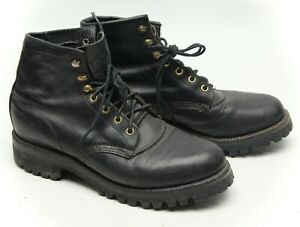 Chippewa-Womens-Boots-9-5-M-Black-Leather-Vibram-Sole-5-Work-Boots-Made-in-USA
