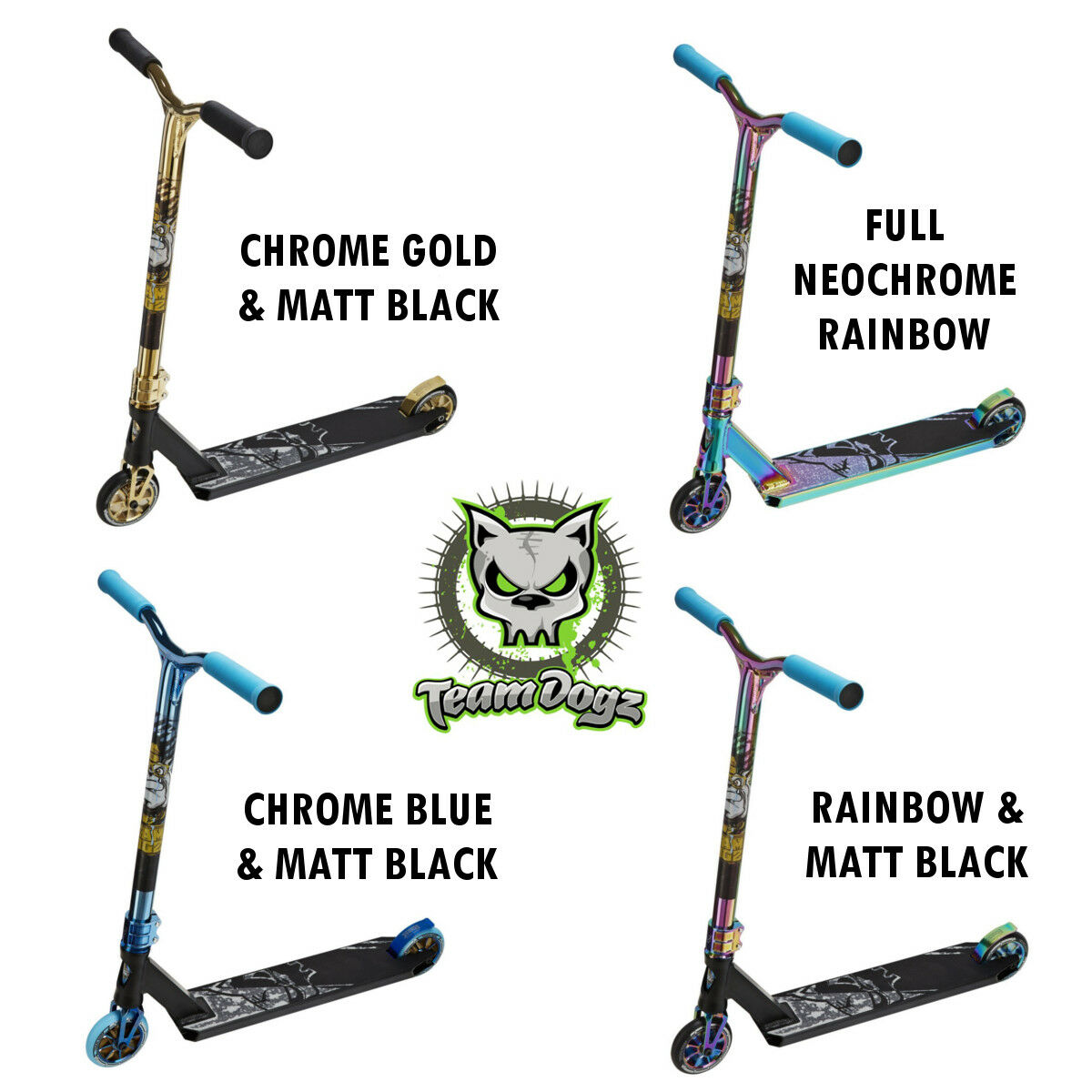 Team Dogz pro X Ultimativ Regenbogen Neochrome Blau Stunt Kinder Kinder Kinder Tretroller Kind 801977