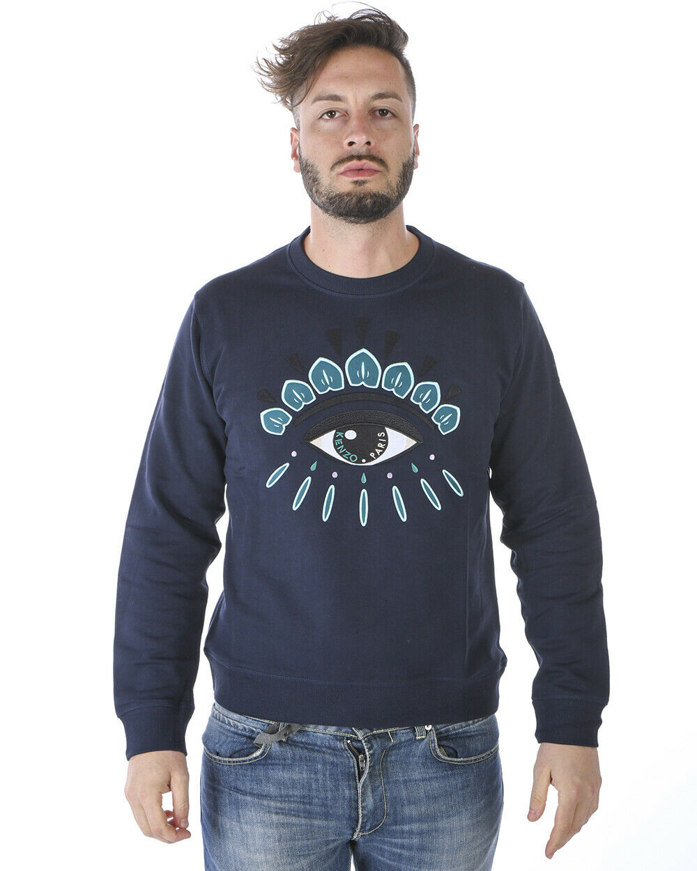 Kenzo Sweatshirt Hoodie EYE Cotton Man bluee 4XC5SW055 78B Sz.L MAKE OFFER