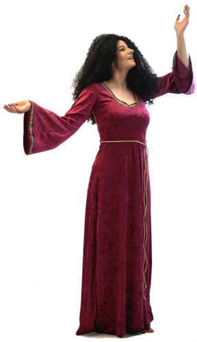 HALLOWEEN-Panto TANGLED MOTHER GOTHEL DRESS /& WIG Ladies Fancy Dress Costume