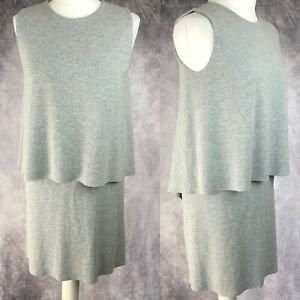 COS-Taupe-Light-Grey-Double-Layer-Lagenlook-Casual-A-Line-Dress-Size-Small-S