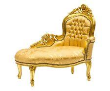 Dormeuse divanetto panchetta foglia oro tessuto damasco oro legno massello