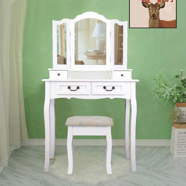 Vicco Table de maquillage Emma commode de coiffeuse miroir LED blanc sonoma