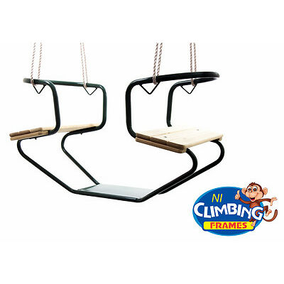 Wooden Glider Swing Duo Rocker- Double Tandem See-Saw Swing Set Climbing Frame