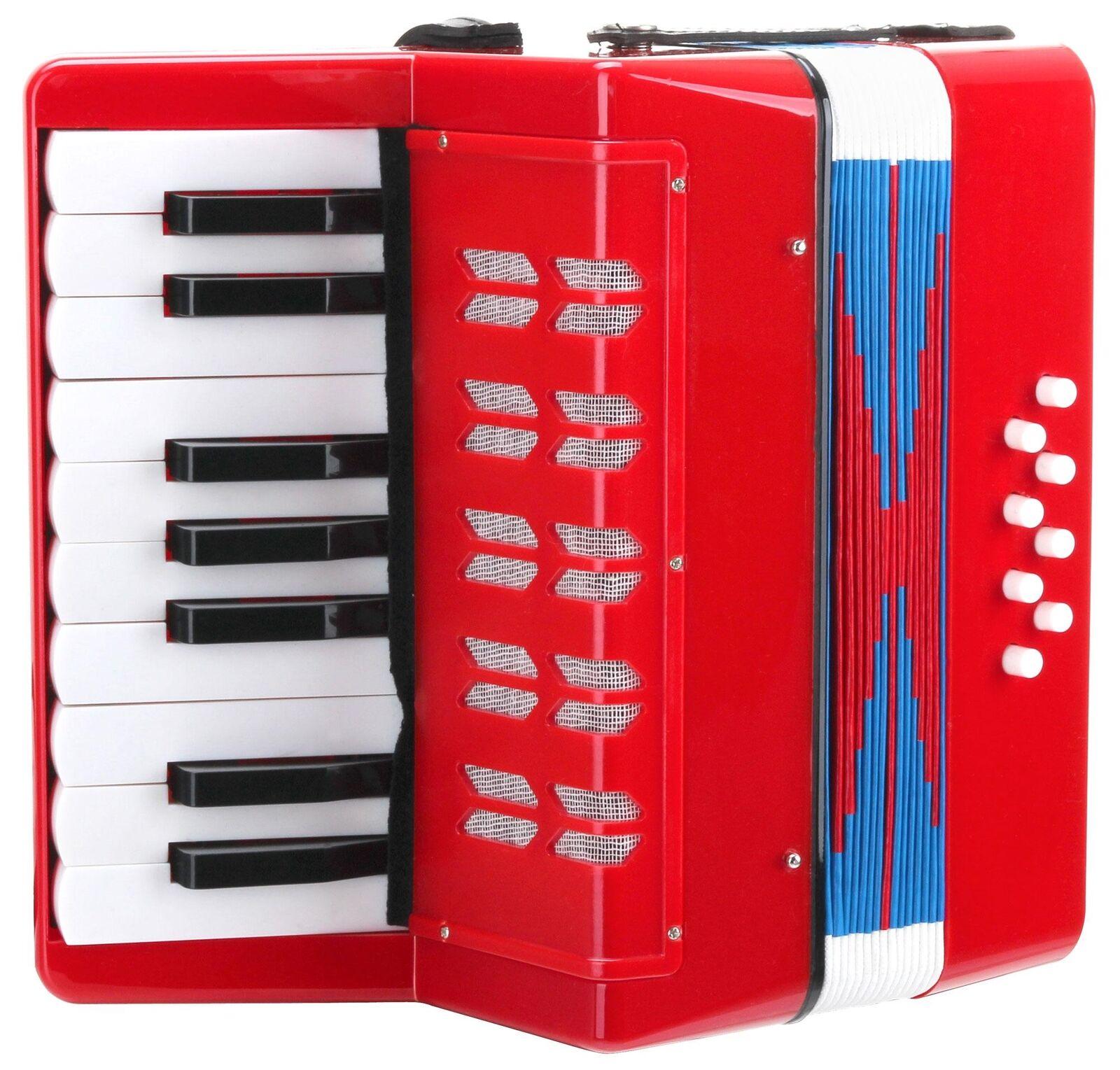 B-WARE 8-Bass Kinder Akkordeon 17 Noten Klavier Ziehharmonika Schulter Riemen