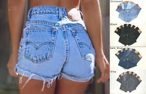 Vintage-Womens-Levis-Denim-High-Waisted-Shorts-Jeans-Hotpants-4-6-8-10-12-14-16