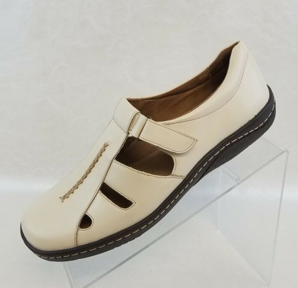 Naturalizer Mary Jane T Strap Round Toe Low Heels Womens Beige Leather shoes 10M