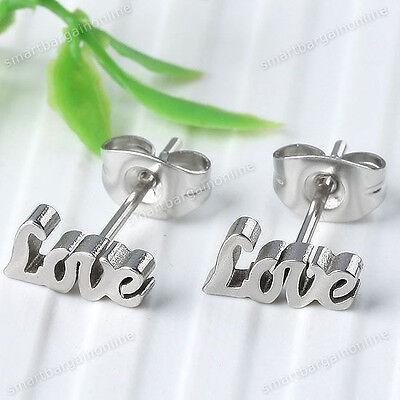 2pc Stainless Steel LOVE Letter Ear Stud Mens Womens Earring Punk Unisex Jewelry