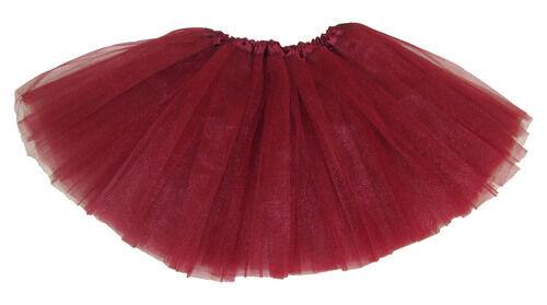 Ballet Dance Shows Girls Toddler Maroon Dark Red 3 Layer Tulle Tutu Skirt