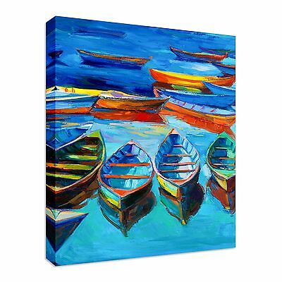 Print of boats and sea Canvas Wall Art Print Large Any Size - port