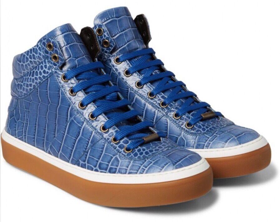 New In Box Jimmy Choo Choo Choo 'Belgravia' Blue Croc-Effect High Top  Size 40/7US 9f2dc6