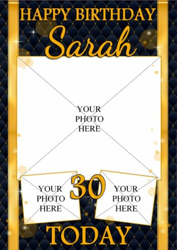 Personalised Black /& Gold Diamonds Happy Birthday Poster Banner N144 ANY AGE