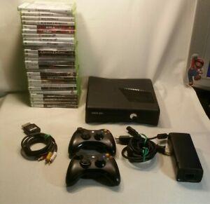 LOT Microsoft Black XBOX 360 S Slim Console BUNDLE w/2 ...