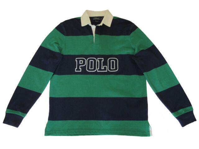 size Medium Blue//Green POLO RALPH LAUREN Men/'s Rugby Long Sleeve Polo Top