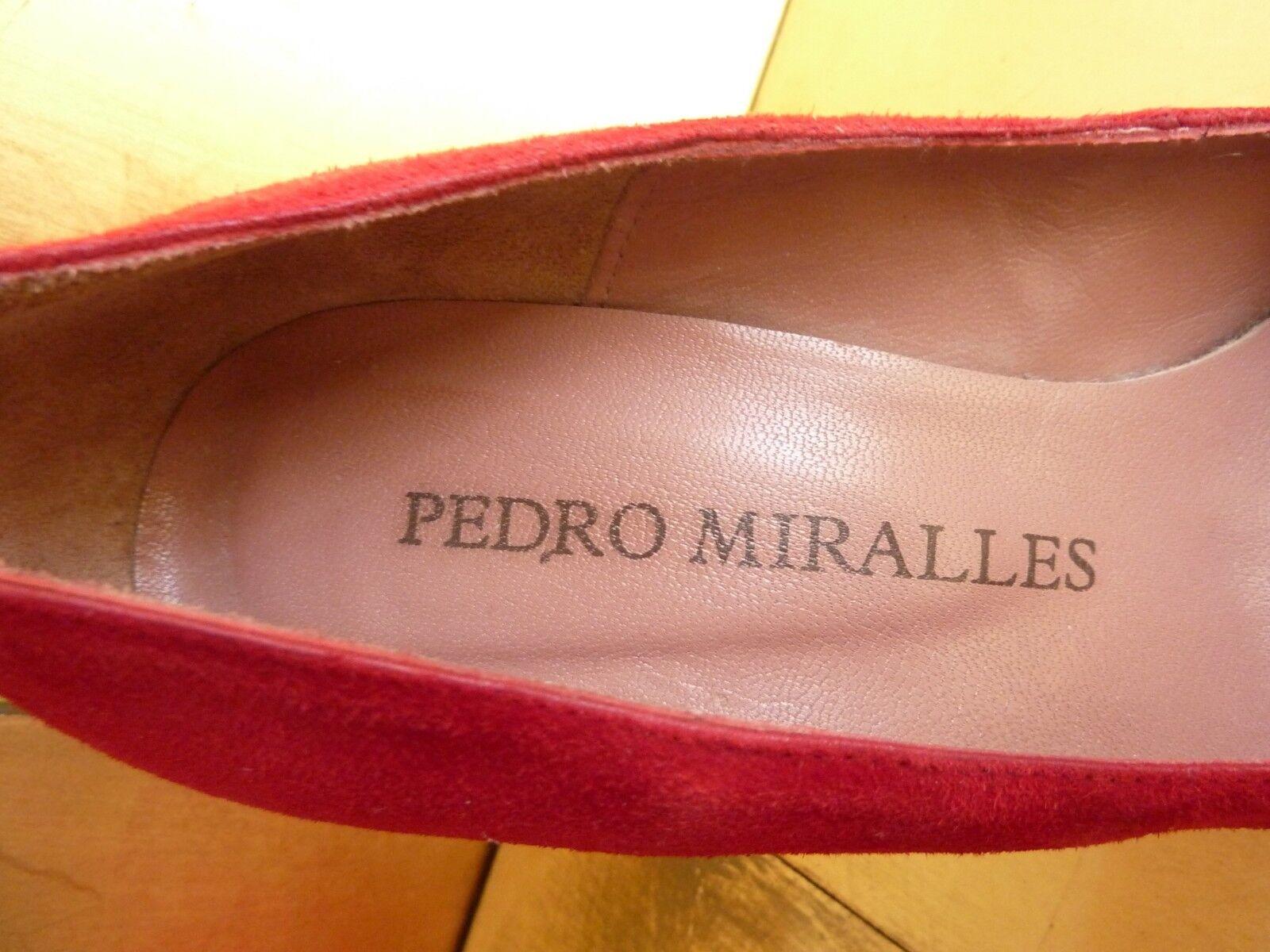PEDRO MIRALLES, PUMPS, ROT, WILDLEDER, WILDLEDER, WILDLEDER, ABSATZ 12 cm, Plateau 2,5 cm, Gr. 41 c161f8
