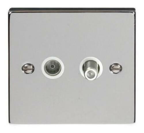 BG BRITISH GENERAL CHROME SATELLITE AND COAX CO-AXIAL MAINS WALL SOCKET 2 GANG