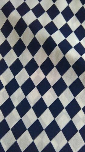 Gingham Dark Blue//White Chiffon Fabric Very Good Quality