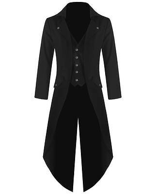 UK Stock Handmade Mens Steampunk Tailcoat Jacket Gothic Victorian Coat (S-5XL)