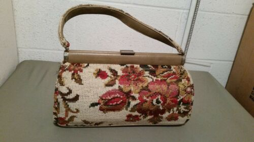 Vintage JR Florida Tapestry Carpet Bag Handbag Pur