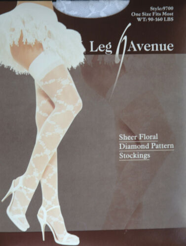 Leg Avenue Fashion Sheer Floral Diamond Pattern White Stockings One Size Regular